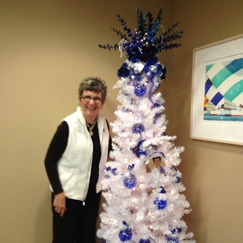 Sue with Holiday Tree